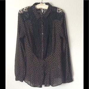 Free People Long Sleeve Sheer Blouse